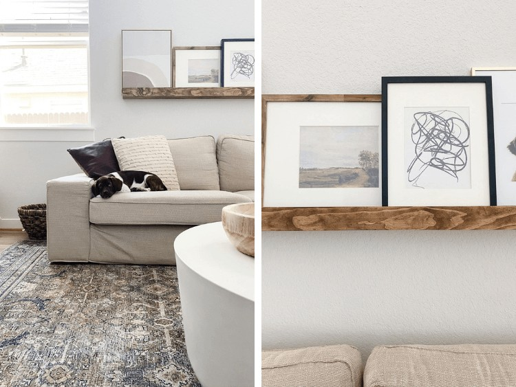 two close up images of art ledge hanging in a neutral living room