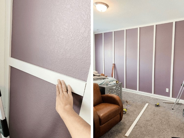 Two images - a close up of using a spacer to place trim boards and a view of an in-progress grid accent wall