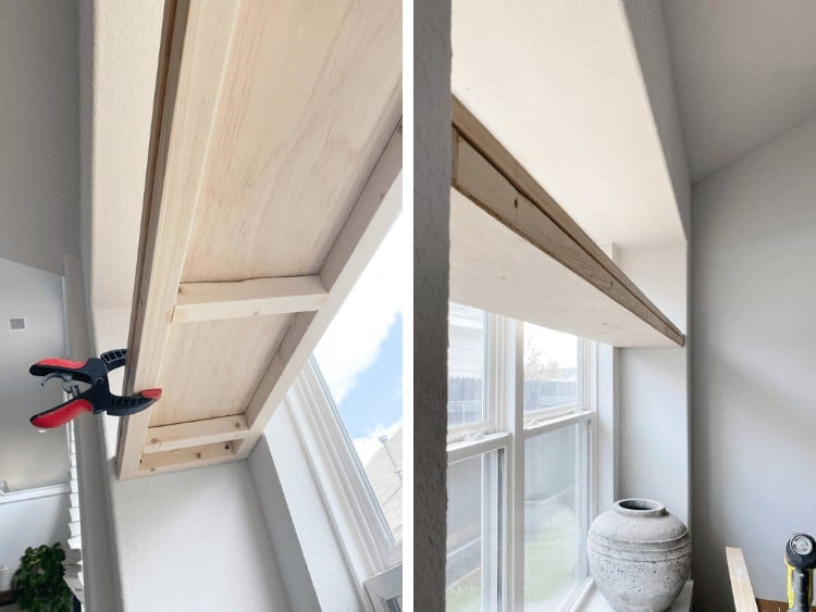 two side by side images of a DIY window plant shelf being installed