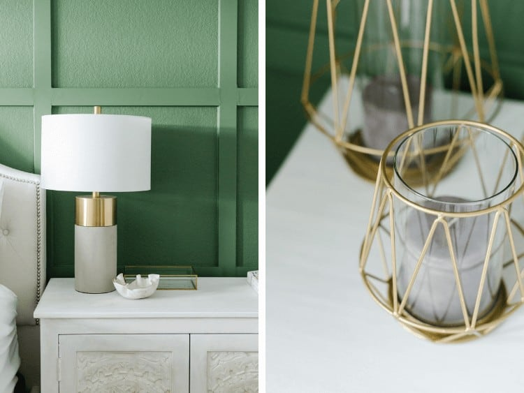 collage of two close up images of details in green and white master bedroom