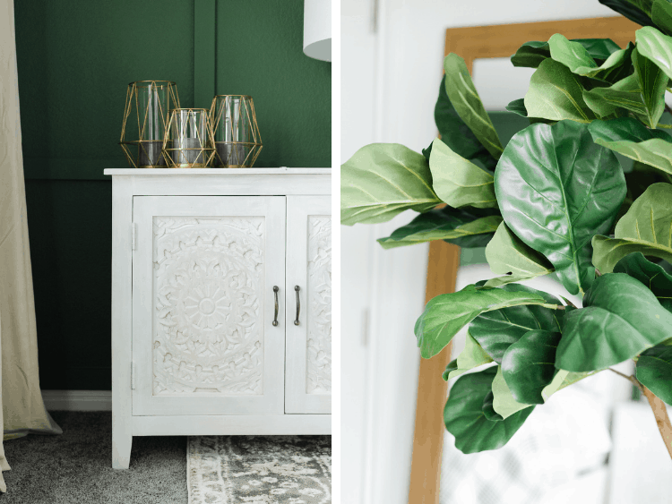 collage of a close up of nightstands from home depot and a faux fiddle leaf fig