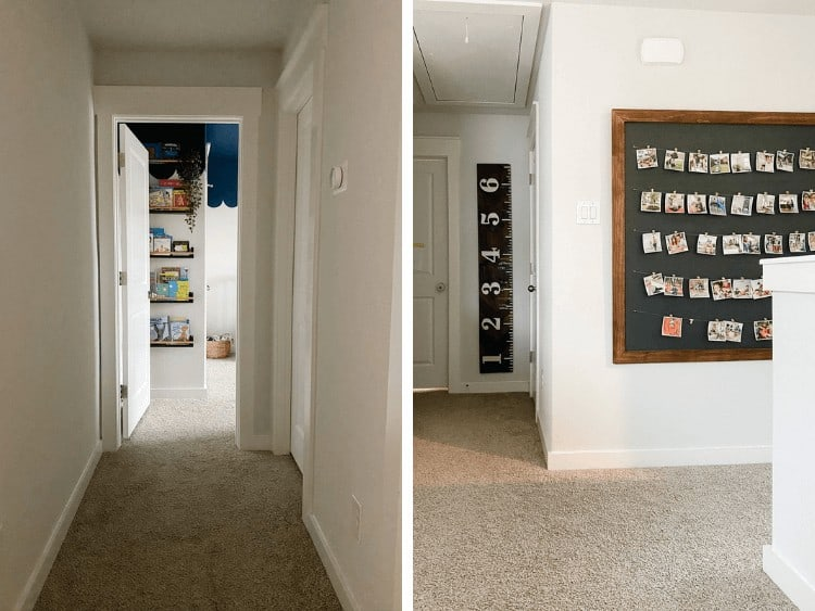 collage of two images of a hallway