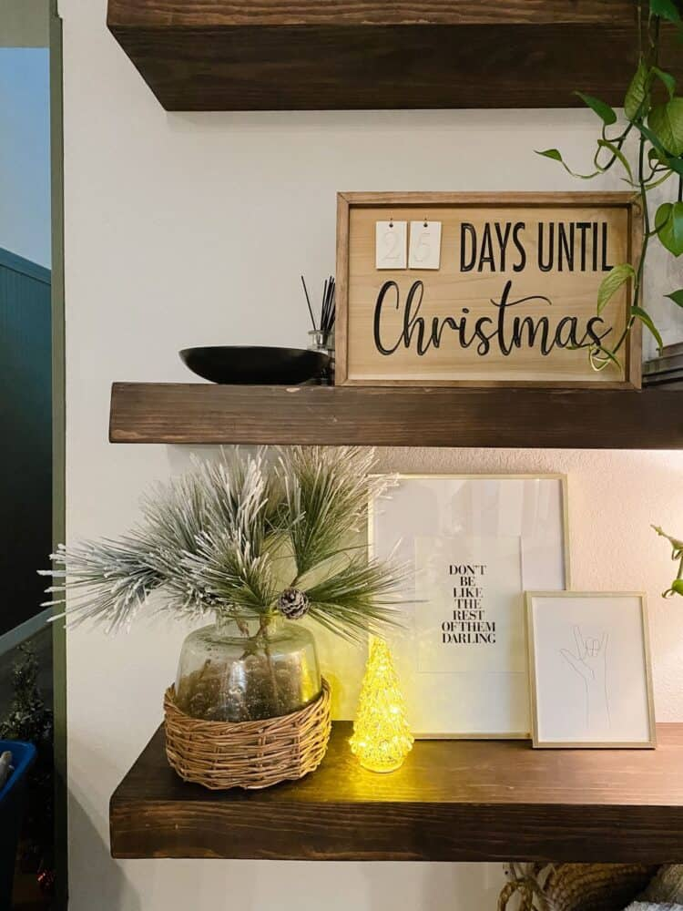 floating shelves with a DIY Christmas countdown on the shelf