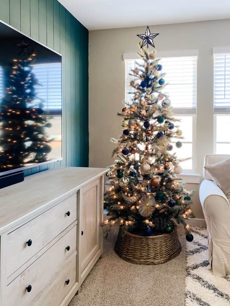 family room with jewel toned Christmas tree