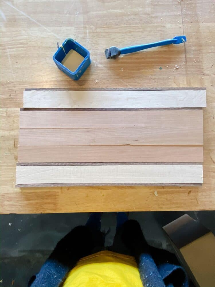 overhead view of DIY cutting board kit