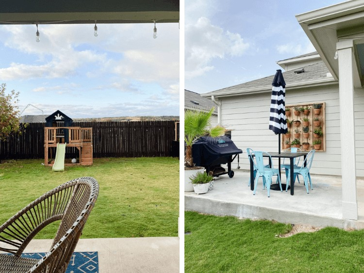 two images of small backyard