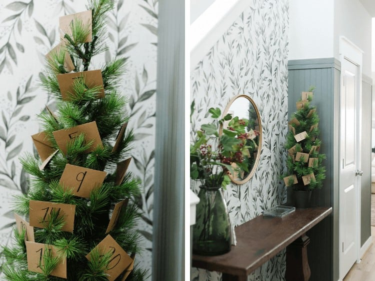 two images of DIY Christmas tree advent calendar