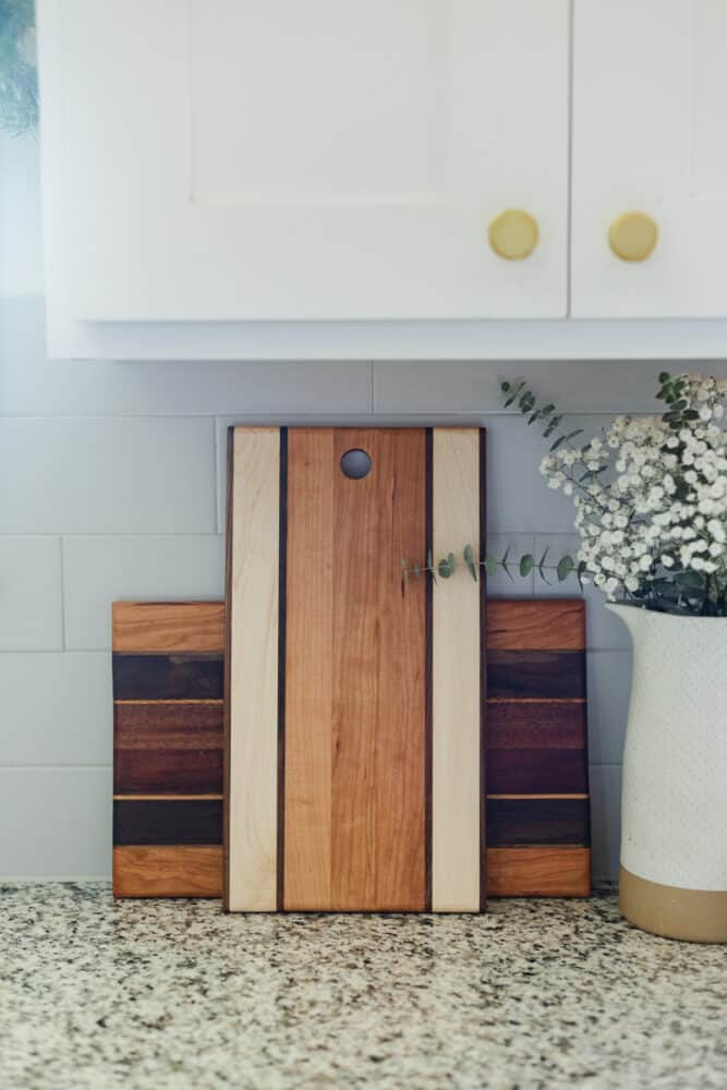 two handmade cutting boards in a kitchen