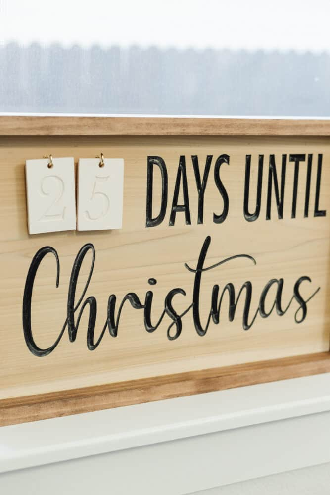 close up of wooden carved Christmas countdown