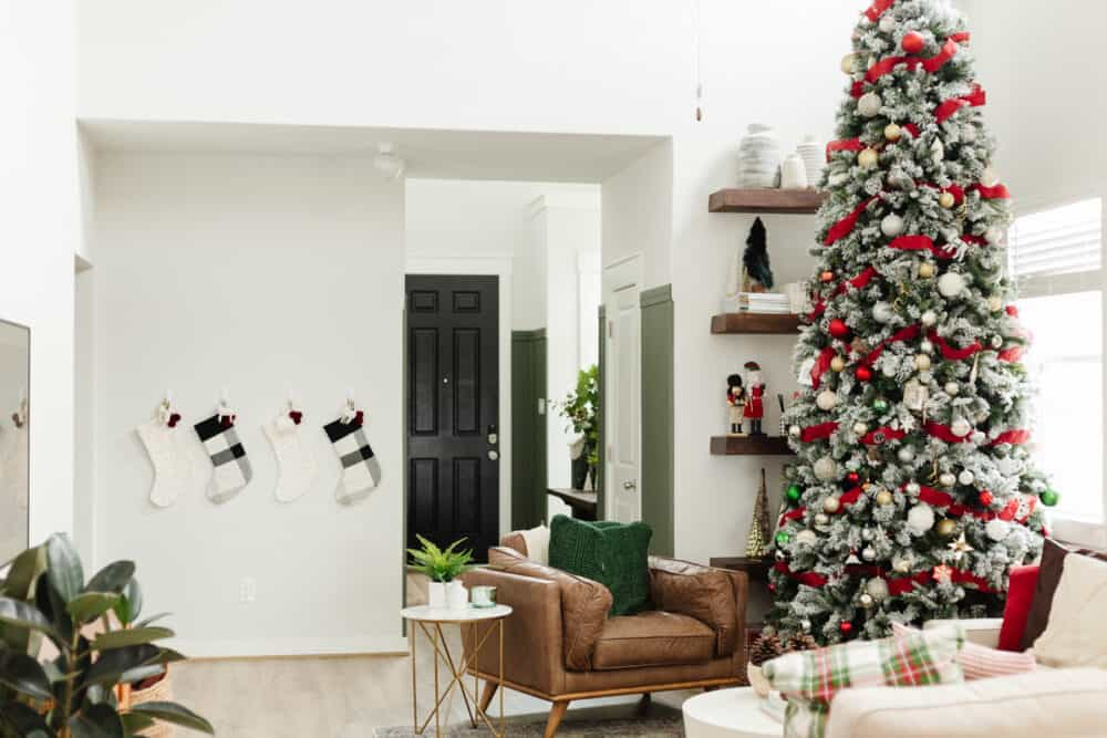 living room with 12-foot Christmas tree