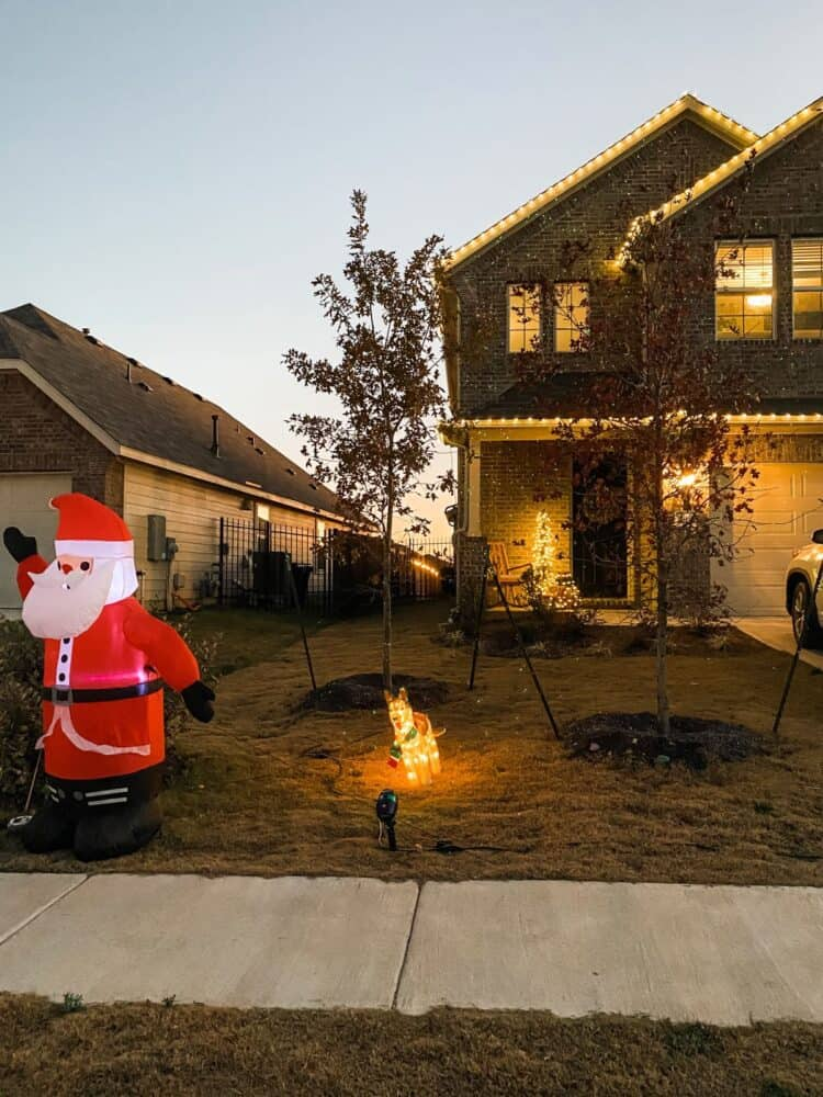 front yard decorated for Christmas