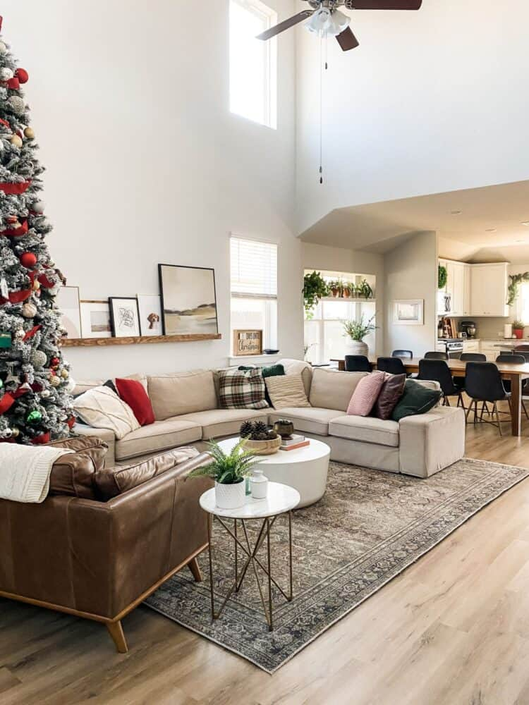 living room decorated for CHristmas