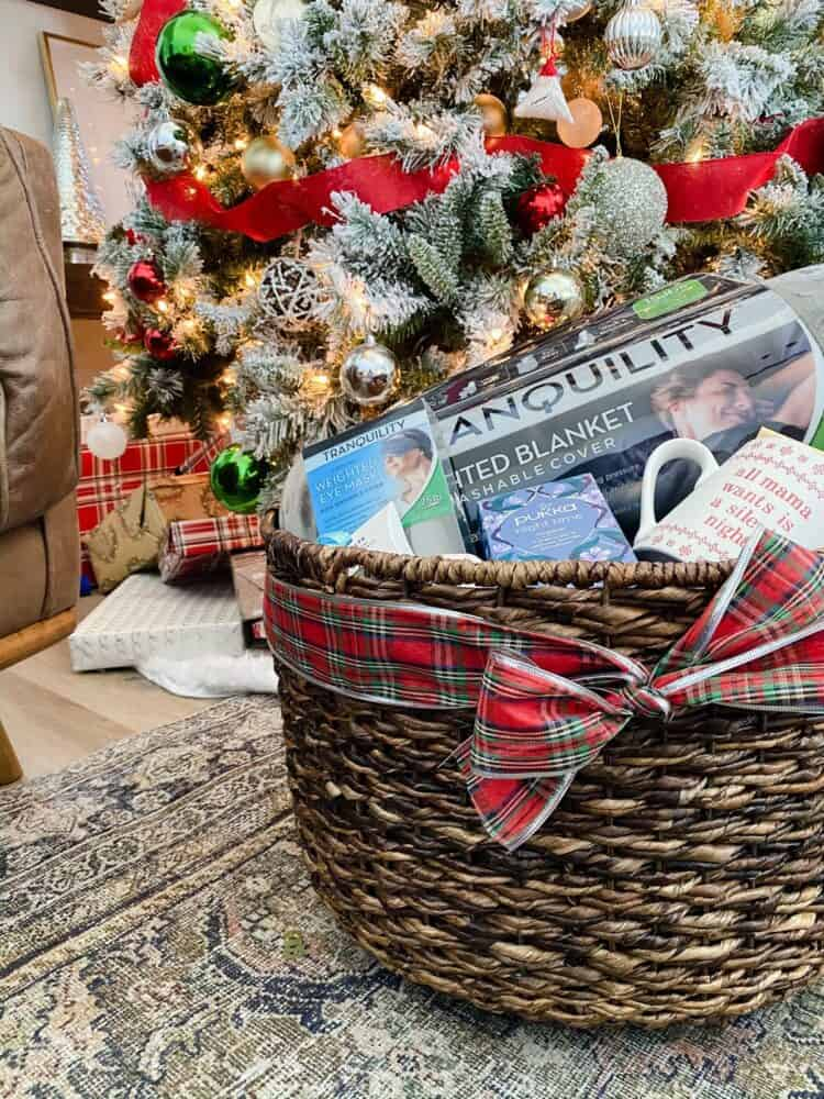 gift basket with relaxation themed gifts