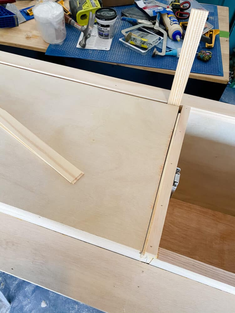close look at how to attach drawer fronts