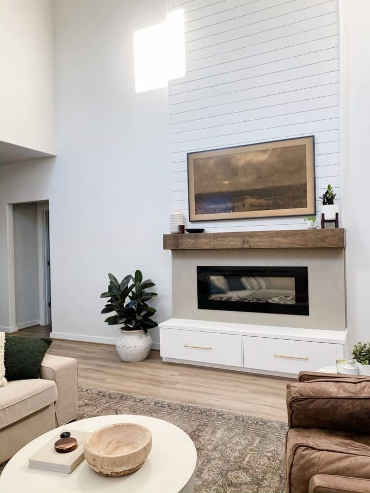 Living room with two-story electric fireplace