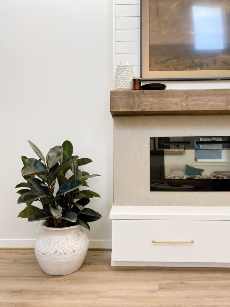 Close up image of DIY built-in electric fireplace