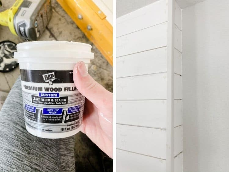 two close up images of wood filler in use