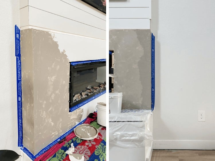 side by side images of first coat and second coat of Roman Clay fireplace
