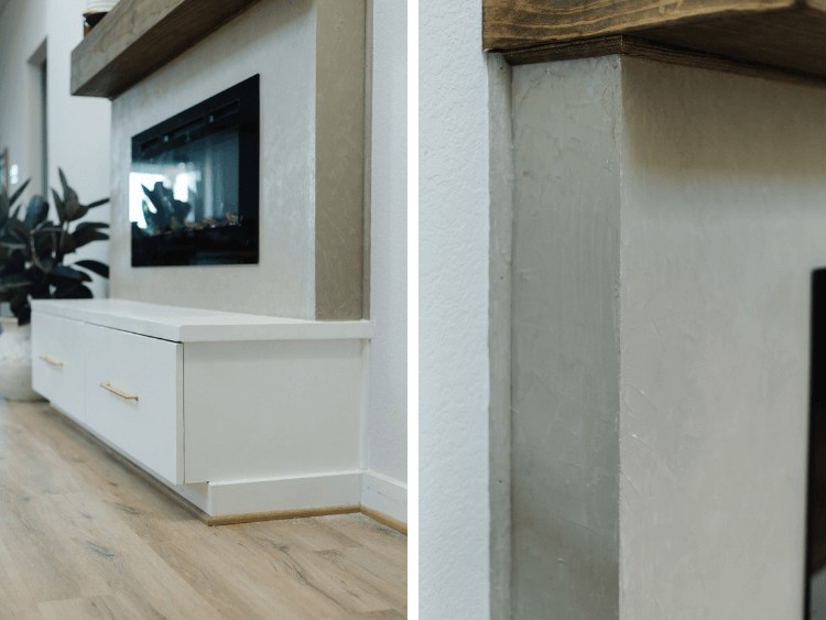 Side by side image of finishing details on built-in electric fireplace