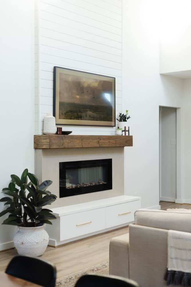 Two-story electric fireplace