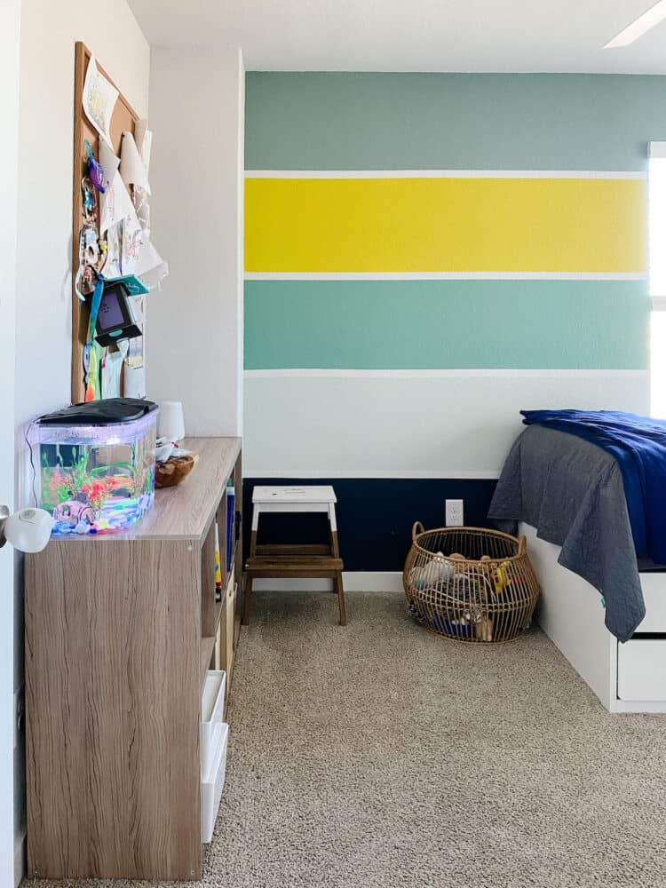 Details in kid room with striped walls