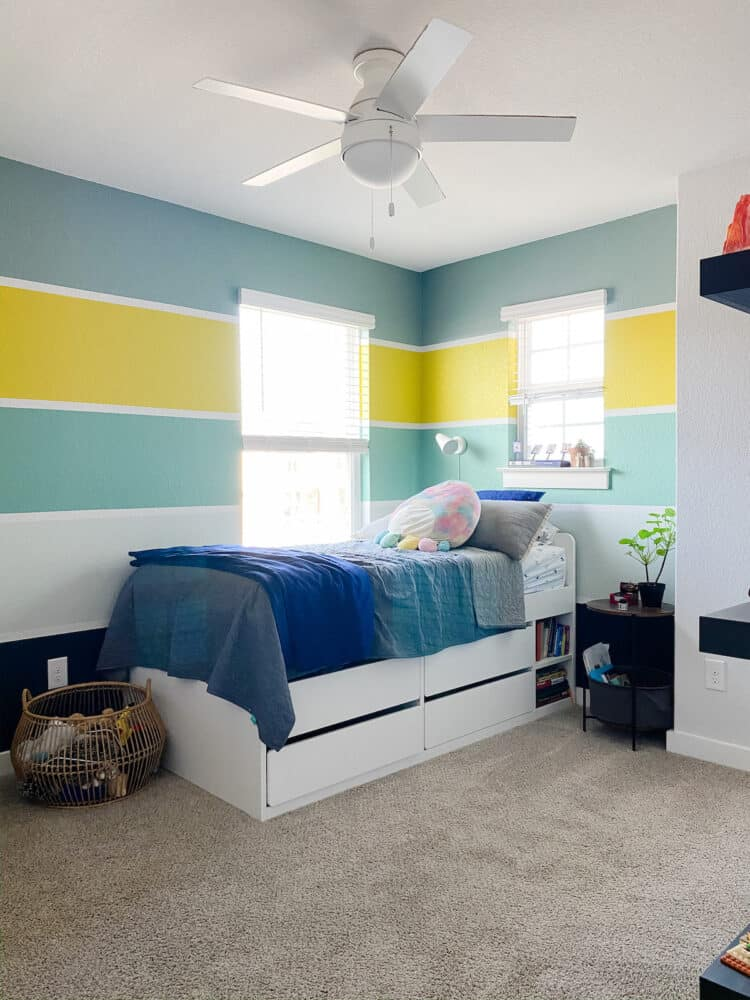 A colorful, striped kid's room