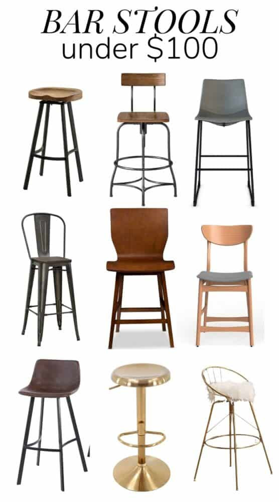 Collage of bar stools under $100