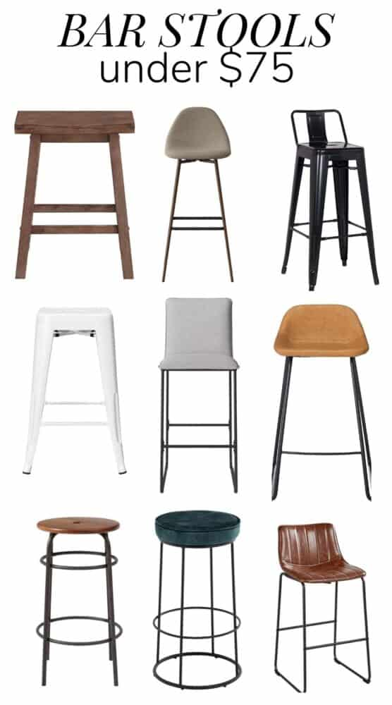 Collage of bar stools under $75