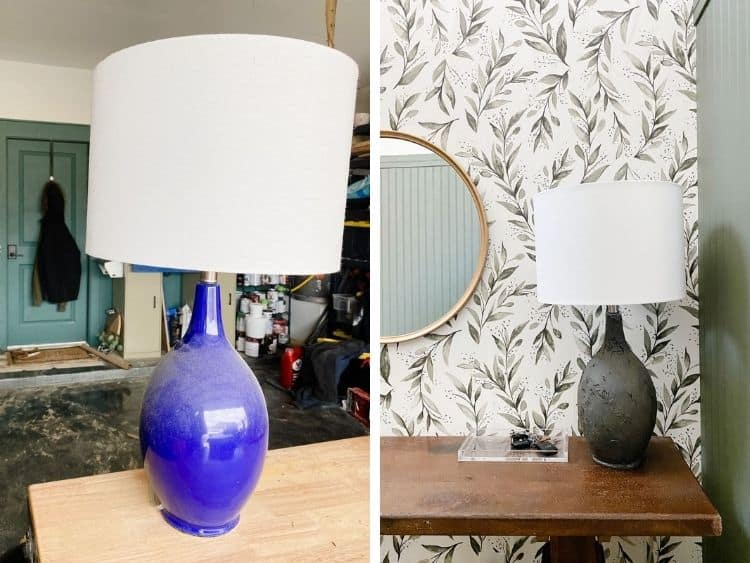 before and after of lamp makeover