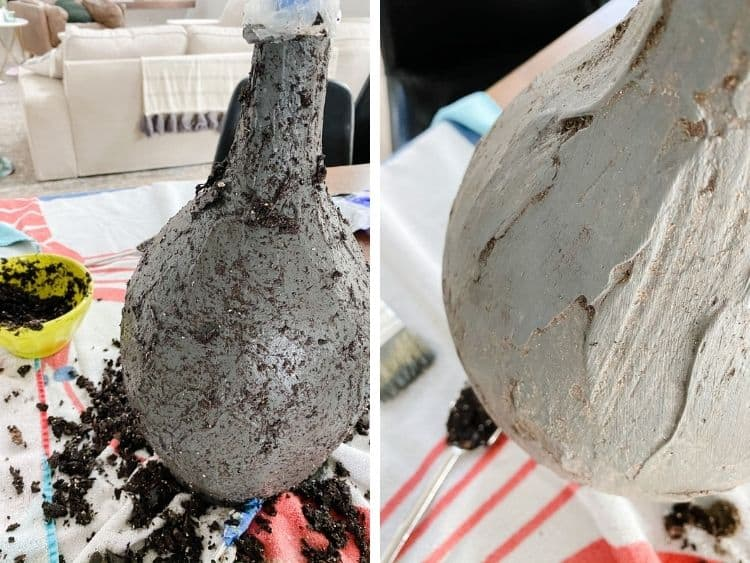 before and after of using dirt to age a lamp or vase