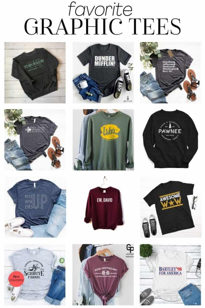 A collage of television-themed graphic tees