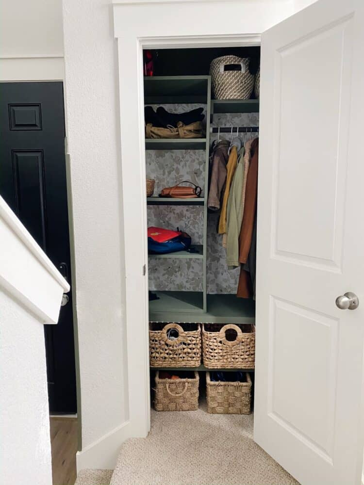 Entry closet after adding DIY organization system