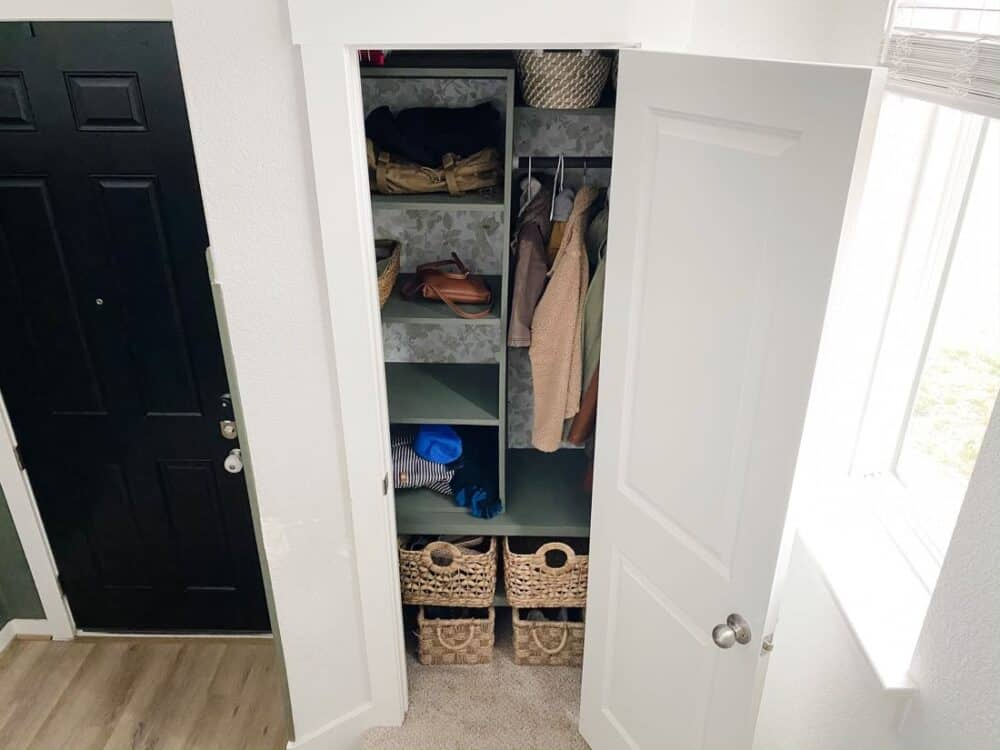 organized entry closet with DIY system
