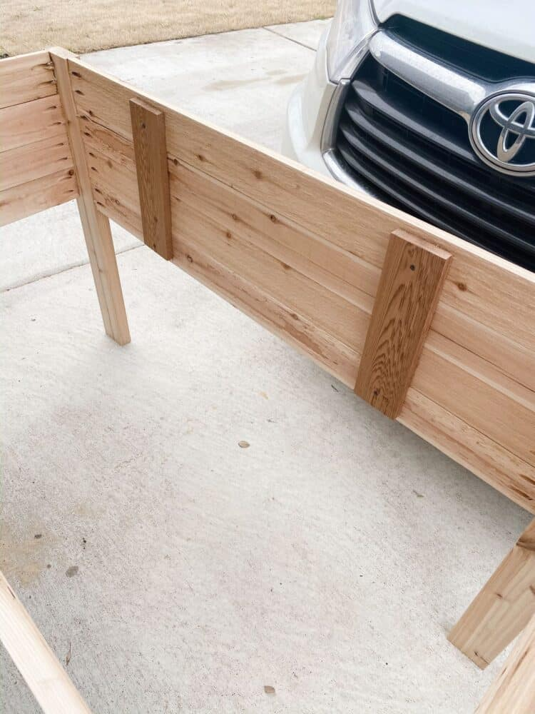 interior supports in elevated planter bed