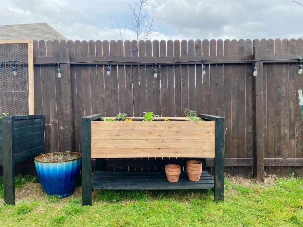 After photo of DIY raised garden bed