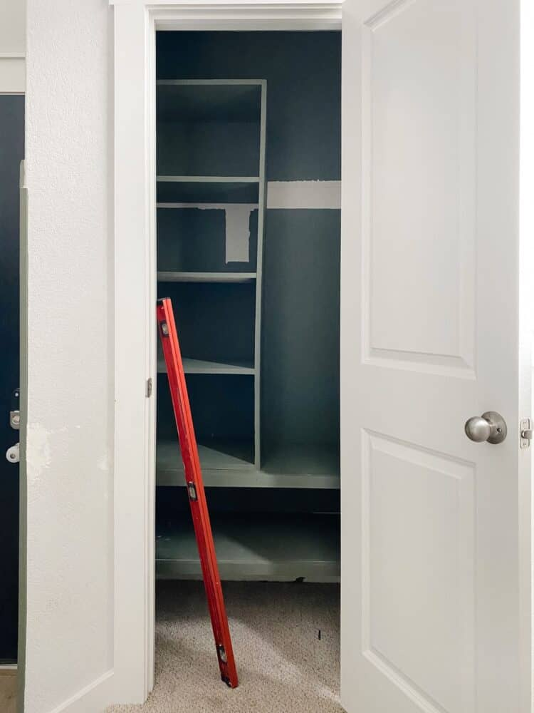 partially-finished organization for entry closet