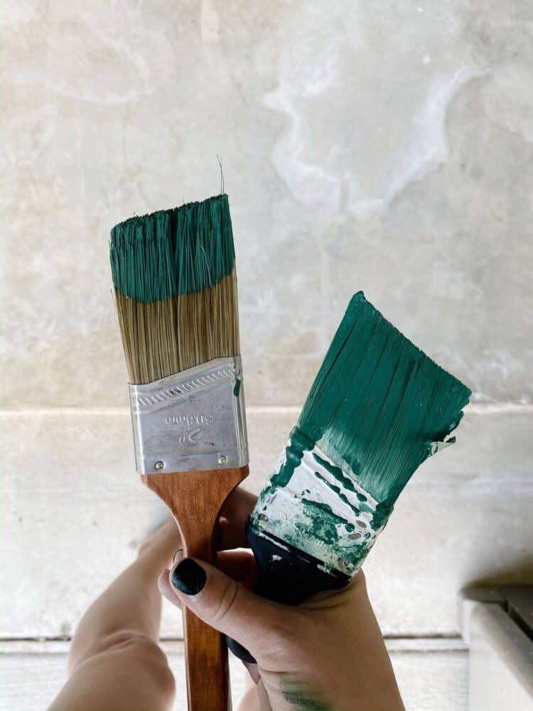 two paintbrushes, the one on the left has been properly loaded and the one on the right has too much paint