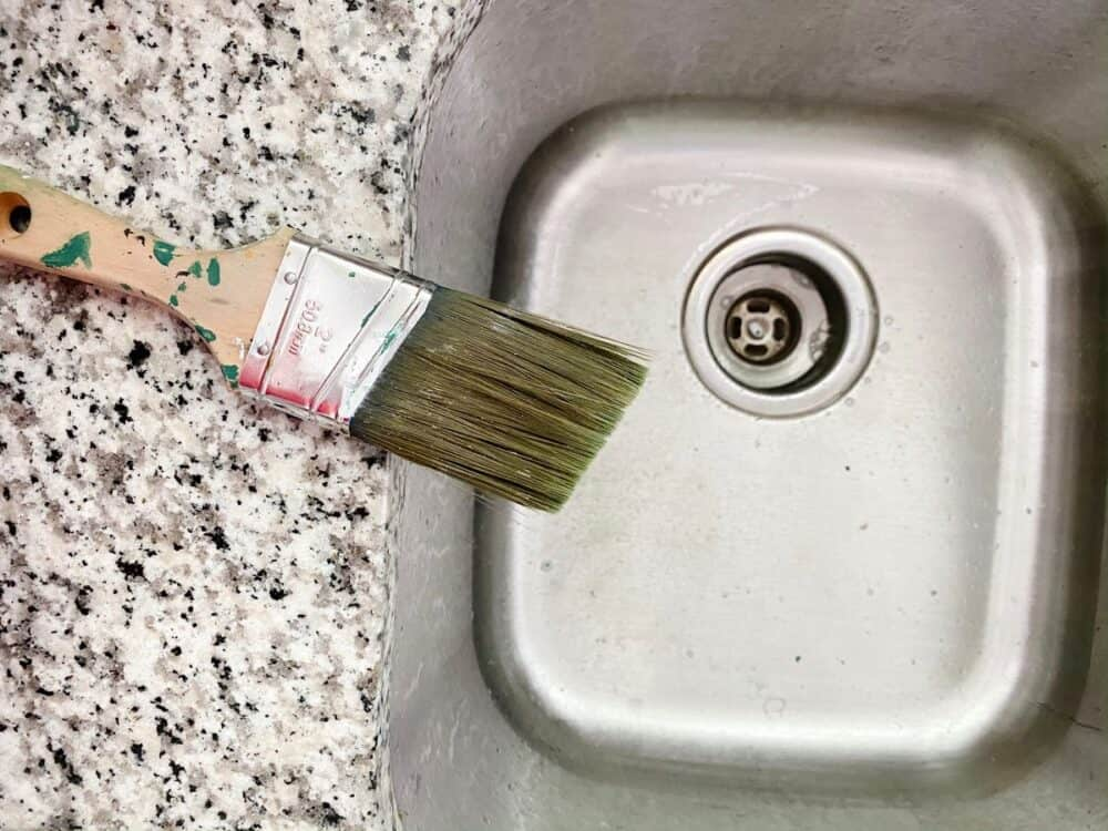 paintbrush drying on a counter