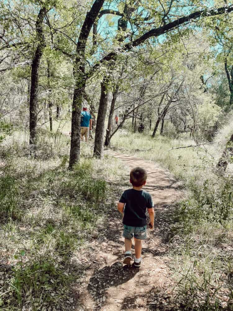 Man and two young boys hiking