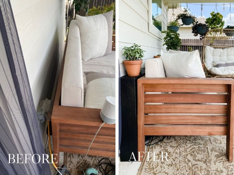 Before and after collage of outdoor sofa table