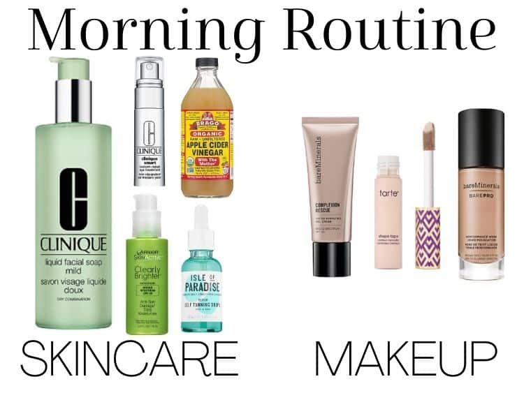 collage of items from a skincare routine - items used in the morning