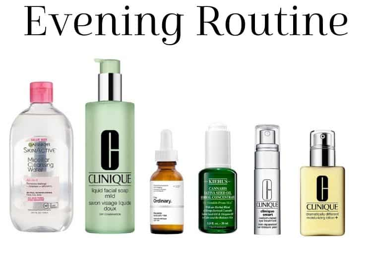 collage of evening skincare routine products
