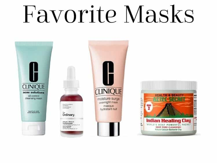 collage of skincare routine masks