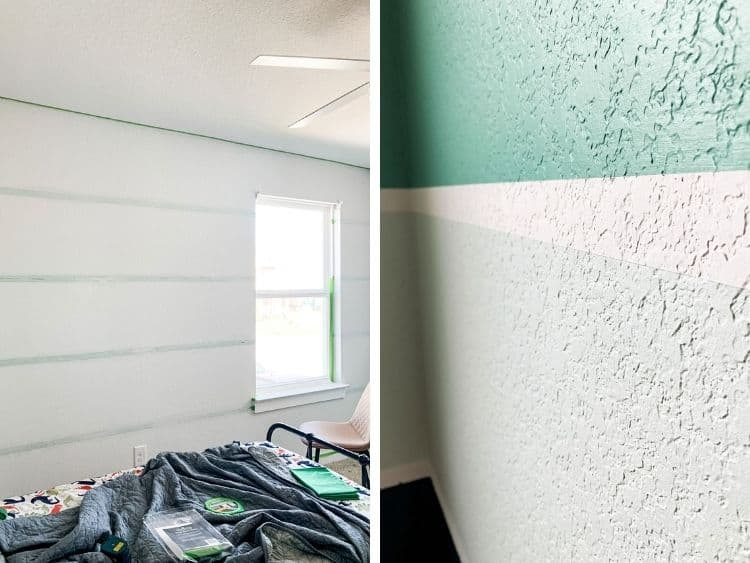 collage of close-up images of using painter's tape to paint stripes in a room