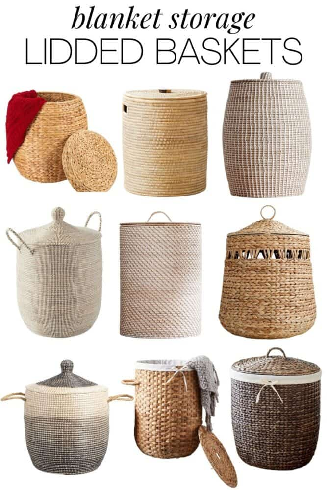 A collage of 9 different lidded baskets, perfect for storing a blanket