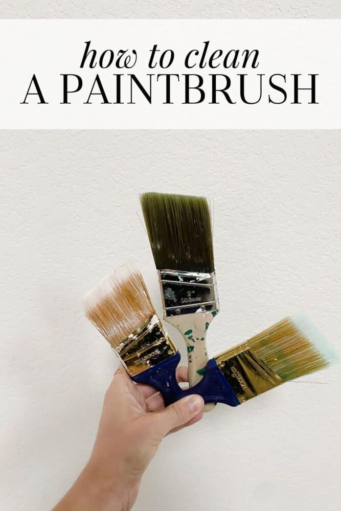 hand holding three paintbrushes with text overlay - how to clean a paintbrush