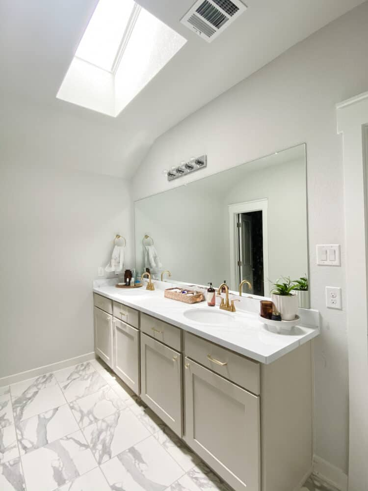 primary bathroom with neutral colors and a skylight