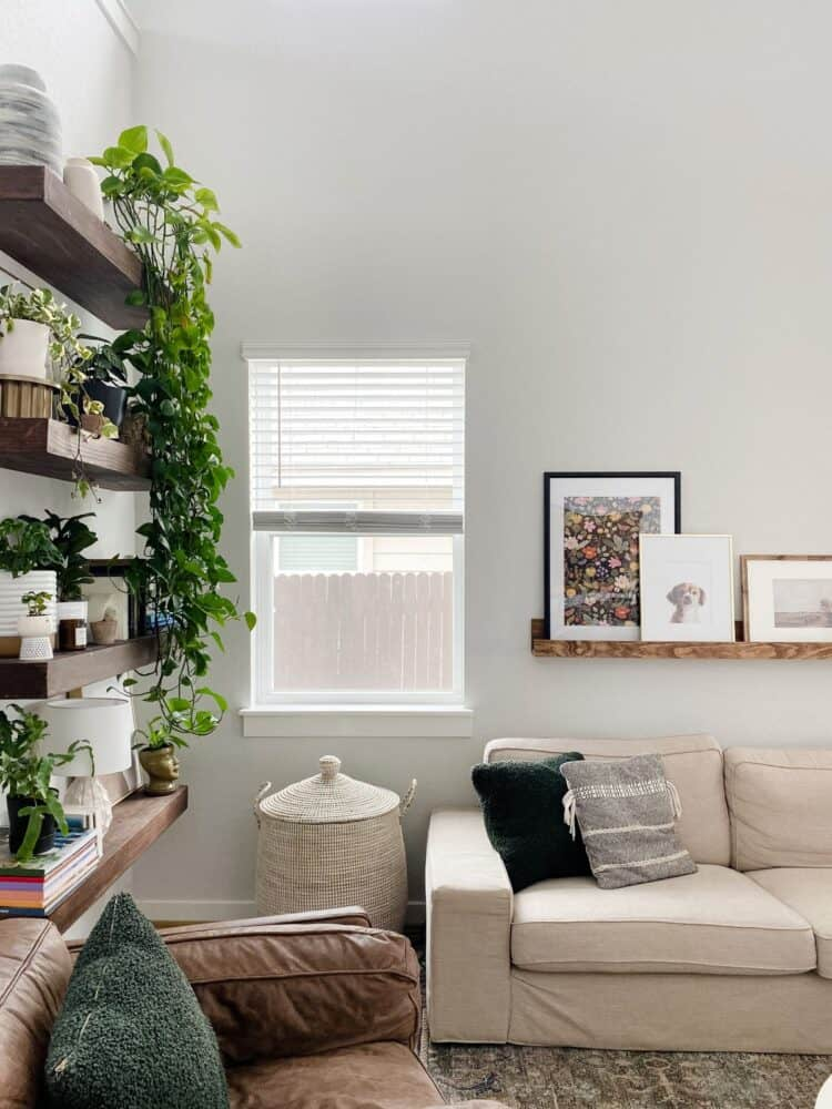 corner of a neutral living room with a large Serena & Lily La Jolla basket
