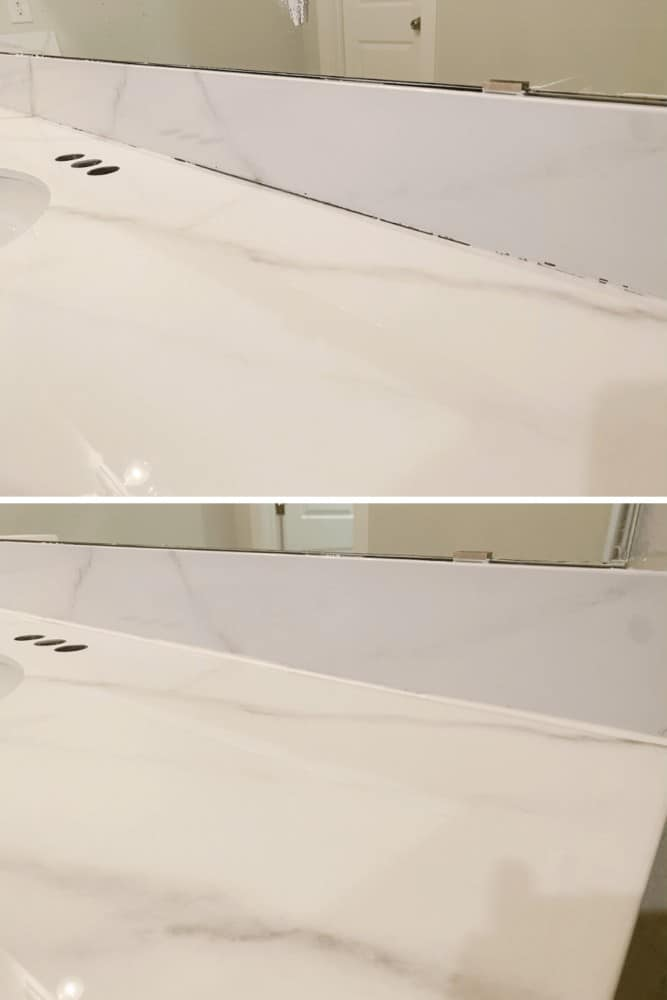 Before and after images of adding caulk to a counter