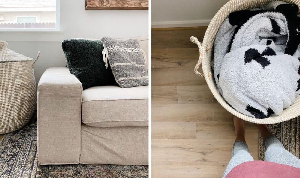 side by side images. On the left is a closet up of a Serena & Lily La Jolla basket, on the right is a view from above with it open and a blanket inside